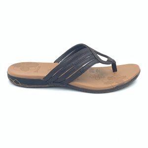 MERRELL Lidia Flip Flop Brown Leather Sandals